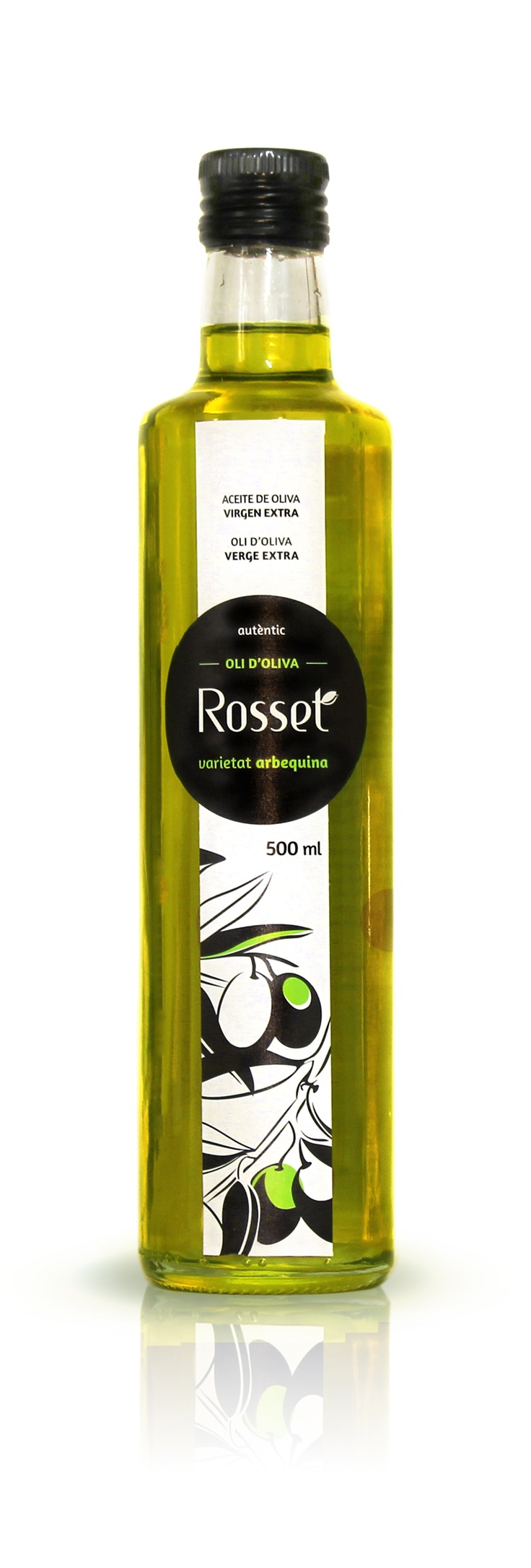 Oli d'oliva verge extra ARBEQUINA, Aceite de oliva virgen extra ARBEQUINA, Extra Virgin Olive Oil of Arbequina olives