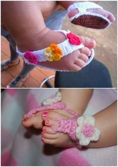 crocheted barefoot baby sandals | 25 Adorable, Free Crochet Baby Sandals and Barefoot Patterns