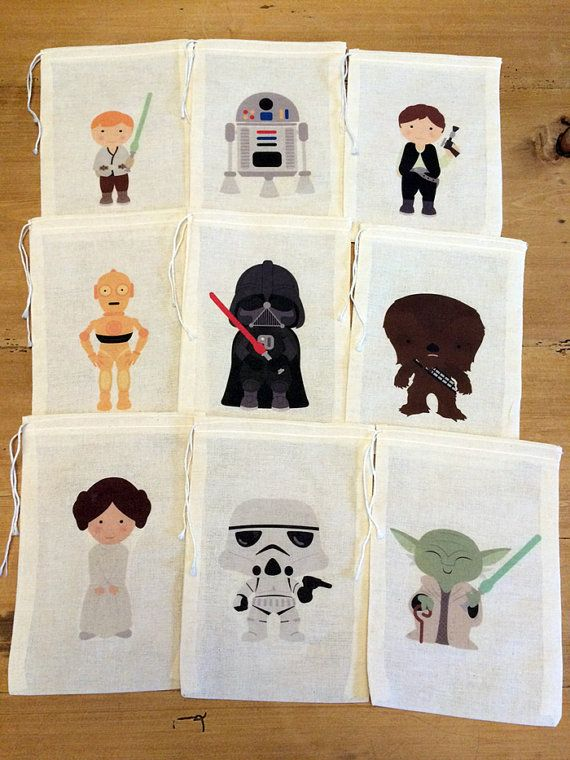 Star Wars Gift Party Favor Bags. Set of 9 by KPortGiftCompany