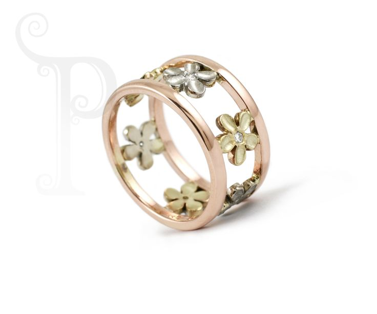 "Blossom ""Too"" Ring, Handmade 9ct Gold, Set With Round Brilliant Cut Diamonds"