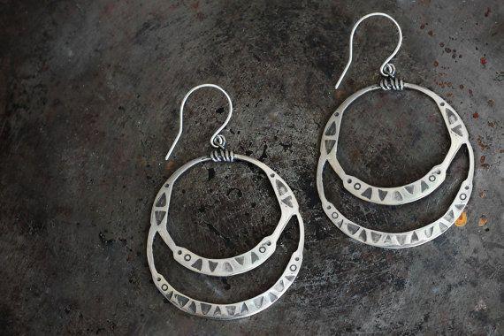 Tribal hoop earrings.