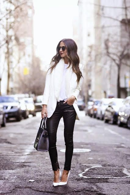 something navy monochrome outfit white pumps leather skinny pants