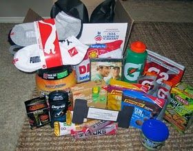 Military or Fitness Care Package Idea. Contents: socks protein powder sunflower seeds