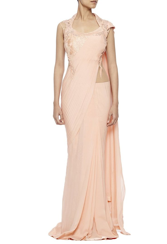 Rose pink lace sari gown by Gaurav Gupta - Shop at Aza