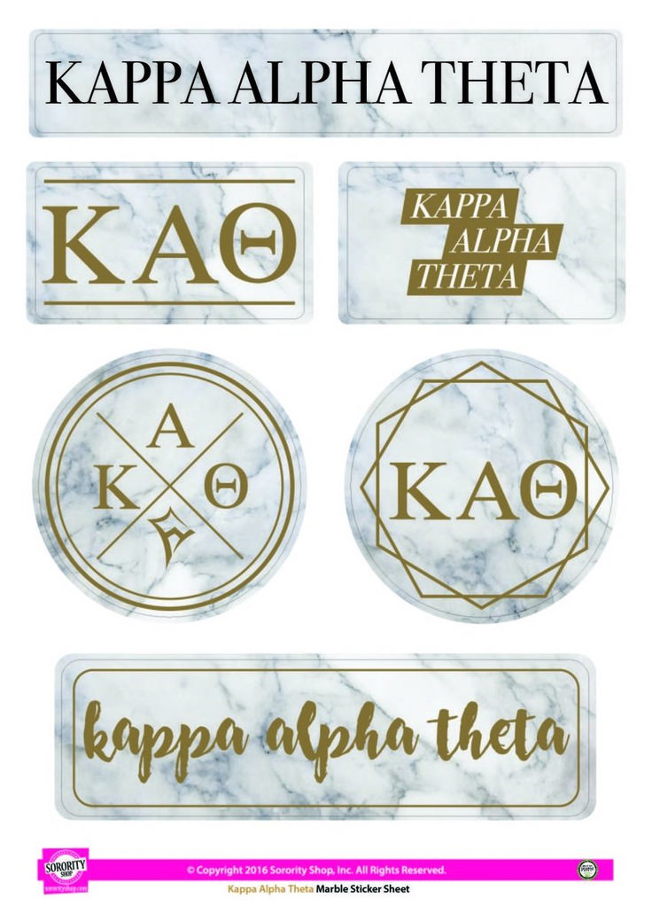 Kappa Alpha Theta Sorority Stickers- Marble - Brothers and Sisters' Greek Store