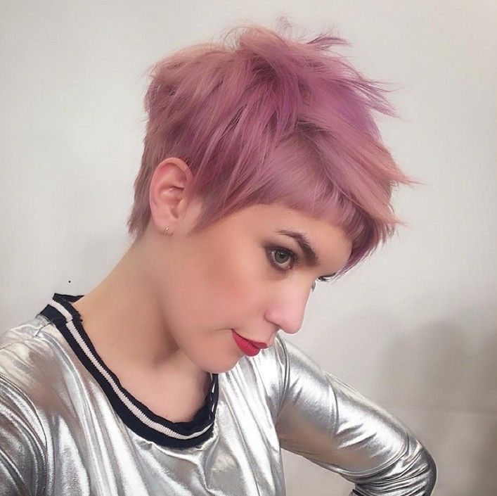 Great Undercut Haircut   Short Pink Pixie Hairstyle