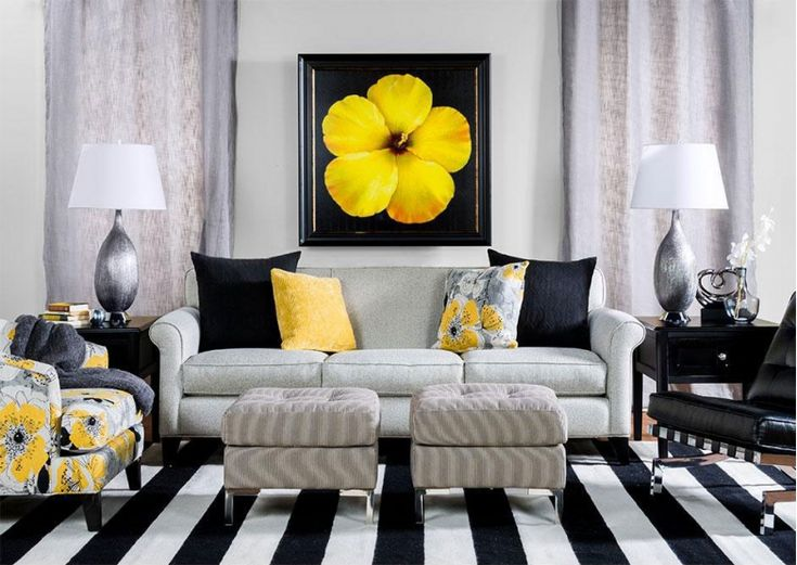 Contemporary Living Room With Black White And Yellow Accents New Home Pinterest Rooms