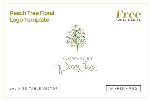 Peach tree floral logo template by design co on creative for Peach tree designs