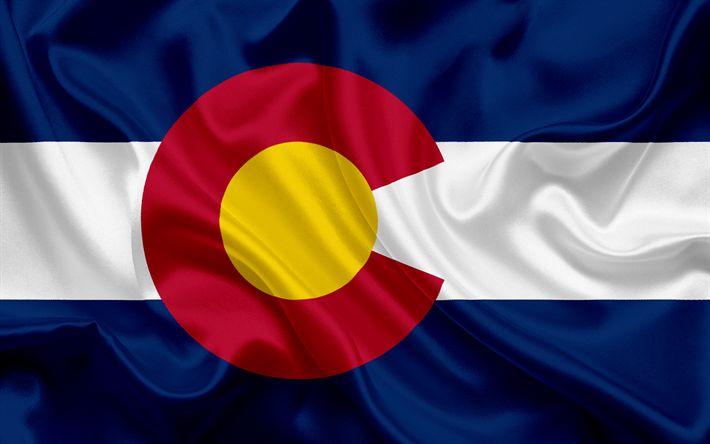 Scarica sfondi Colorado Bandiera, bandiere degli Stati, bandiera dello Stato del Colorado, USA, Colorado state, di seta Blu