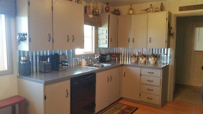 corrugated metal backsplash kitchen makeover pinterest