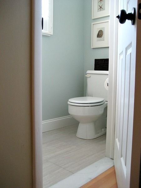 How to lay 12x24 tile in a small bathroom sw sea salt salts and paint colors - Small half bathroom tile ideas ...