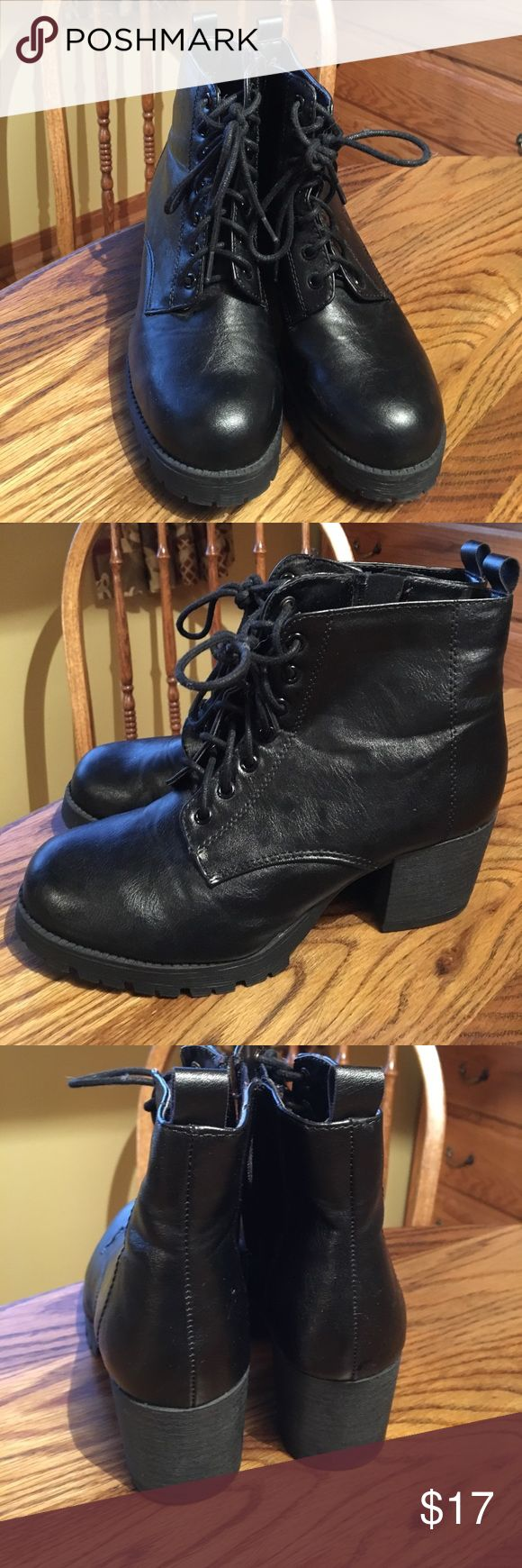 Tilly's Soda Black Lace Up Heeled Boots Super cute! Basically like new just worn a few times. Look like Steve maddens super cute 😩😩. Super cute and edgy and nice to go out in! Even though they are heeled they are super comfortable. Soda Shoes Heeled Boots