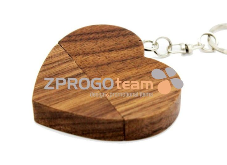 NOVINKA - NEW: Promotional wooden USB flash drive design heart. USB flash drive can be applied by printing or laser engraving.