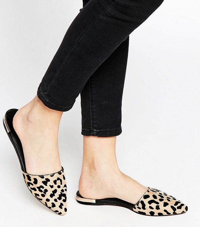 Aldo Luma Leopard Pointed Flat Mule Shoes