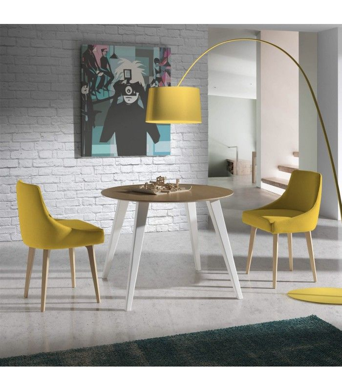 mesas de comedor almosa forma circular con la tapa de madera y varias medidas