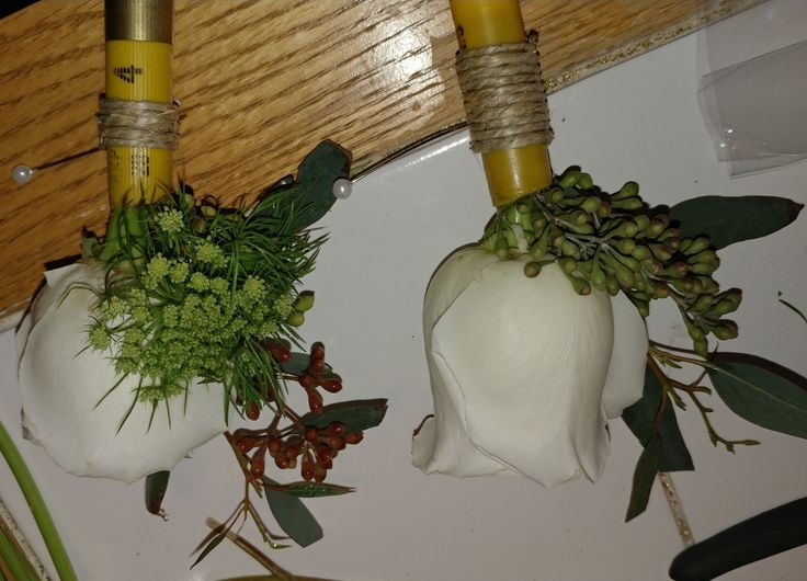 Shotgun shell boutonnieres..Classic white rose ,queen Anne's lace, naked seeded eucalyptus