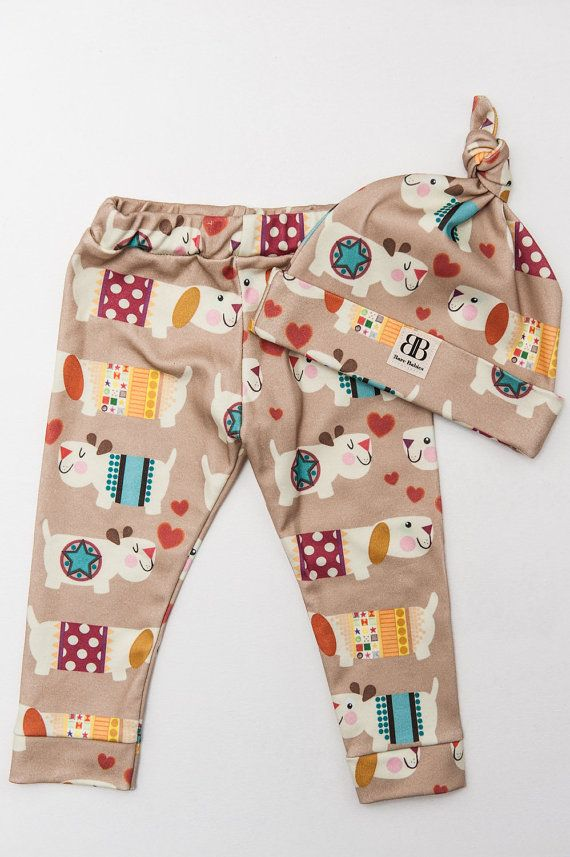 Organic Cotton Knit Leggings/Baby Leggings/ Puppy by BareBabies #woowoowoofers #dogs #baby #cuteness #scrummy