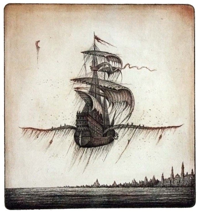 Fantastic Etchings of Floating Cities by Sergey Tyukanov    http://artofday.com/wordpress/?p=3781