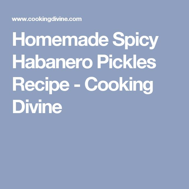 Homemade Spicy Habanero Pickles Recipe - Cooking Divine