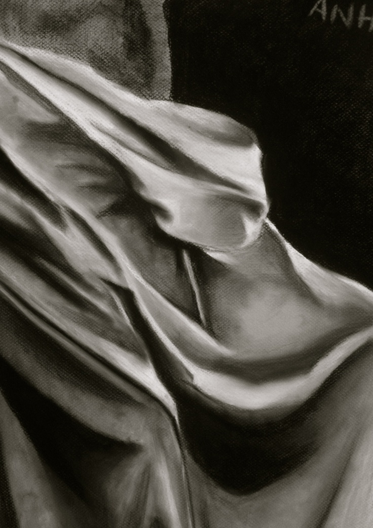 In-class drapery drawing 2012  Charcoal  Artist: mstruonganh  http://msa-artgallery.tumblr.com