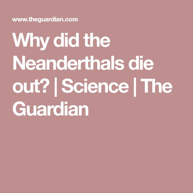 Why did the Neanderthals die out? | Science | The Guardian