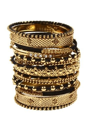 Reema Bangle Set by Top Trend: Black & Gold Jewelry on @HauteLook