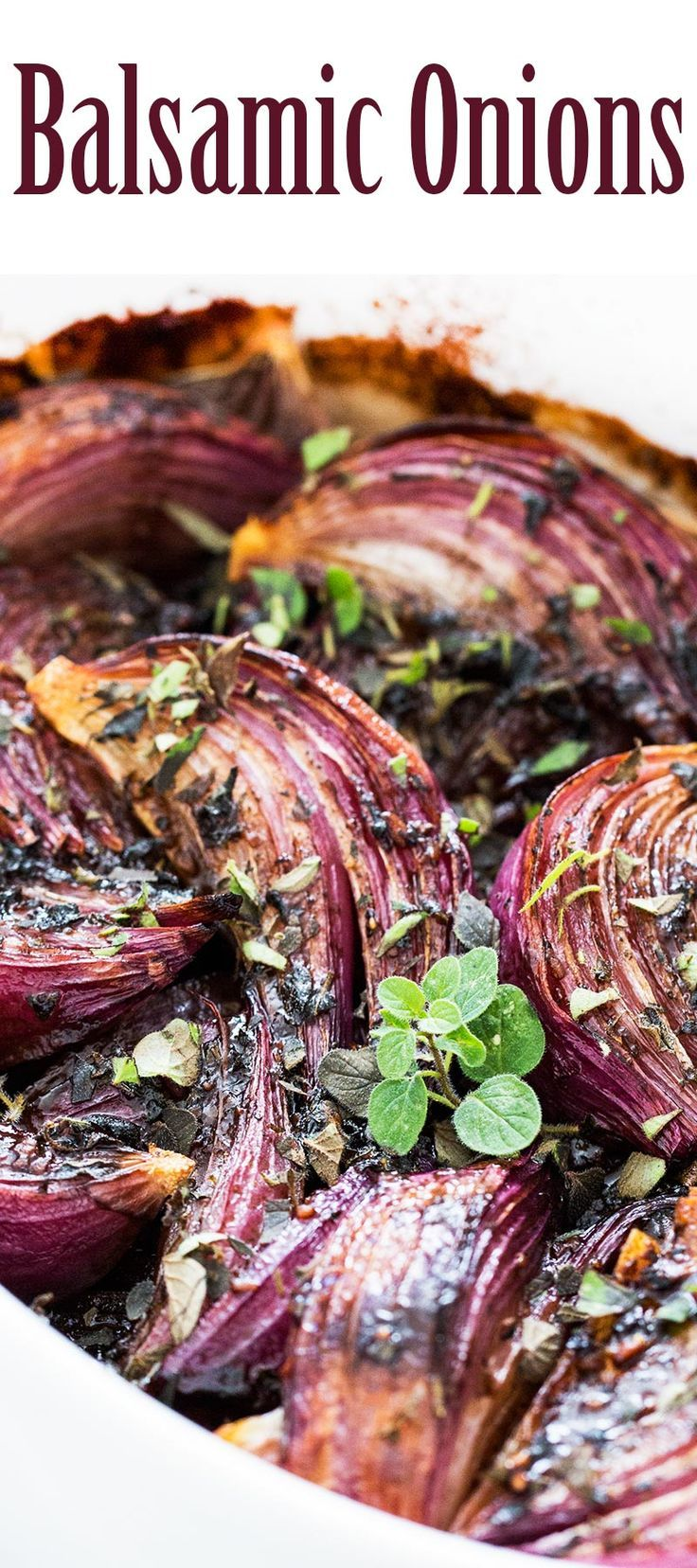 Balsamic-Glazed Red Onions! Such an easy side dish. Great with roast chicken, Thanksgiving, or a vegetarian main dish.