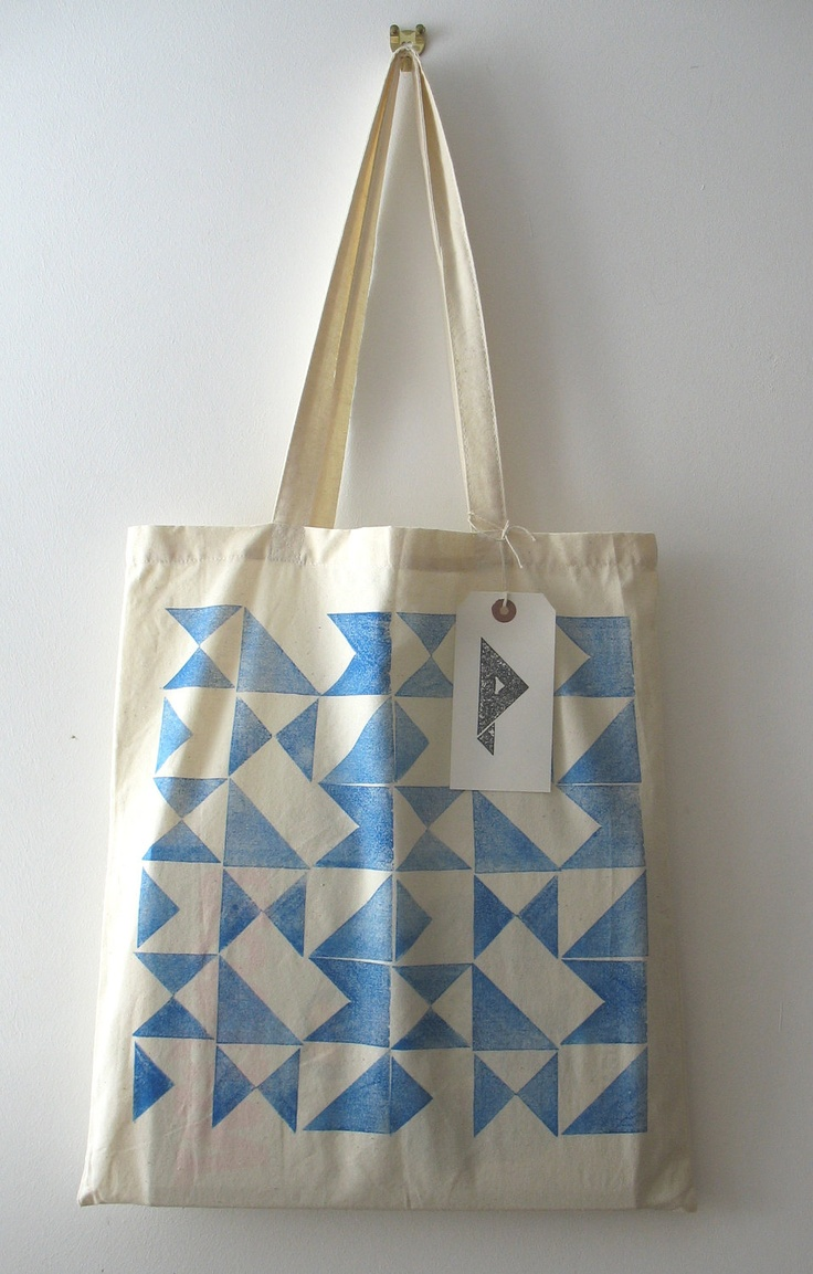 Signals - hand printed cotton tote bag (blue). Etsy.