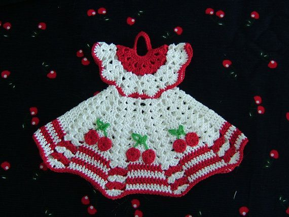 Crochet doll dress  Could be used as a Christmas ornament.