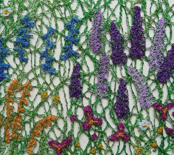 Frontera herbácea – bordado de encaje máquina – sin enmarcar arte textil