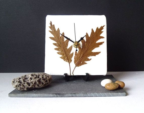 Unique Real Leaves Desk Clock Small Wall Clock - Decoupage Mulberry Paper and Dried Pressed Oak Leaves - Autumn Fall Botanical Clock