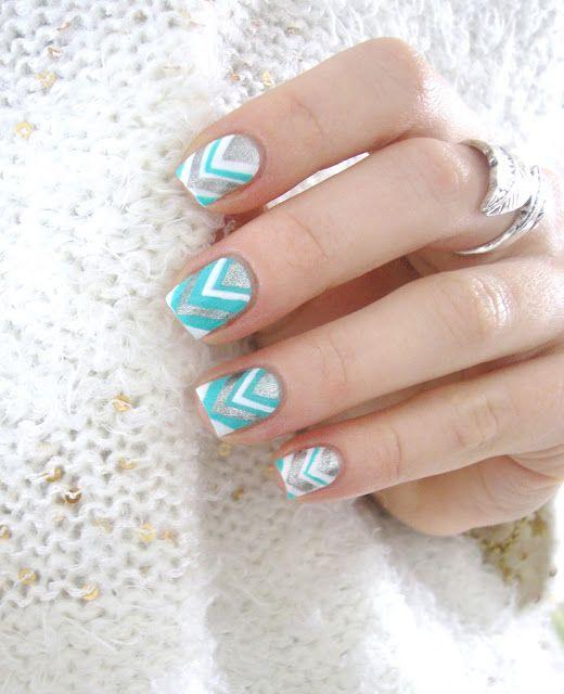 Chevron nail art: three color colour design: white (Essie Blanc), mint green blu