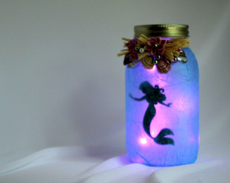 Mermaid Jar Lantern, Purple Flower, Shells and Pearls, Include String of Battery Powered LED Lights by buttonsnbowsbyLaura on Etsy