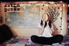 I like the map on the wall, it's cute, think I might do that except with my skyrim map c: