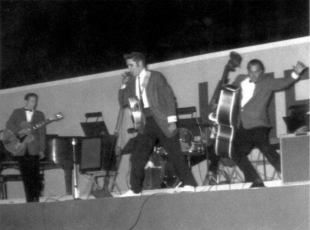 Scotty, Elvis, DJ and Bill onstage at the Cotton bowl - Oct 11, 1956 Photo courtesy Steve Bonner