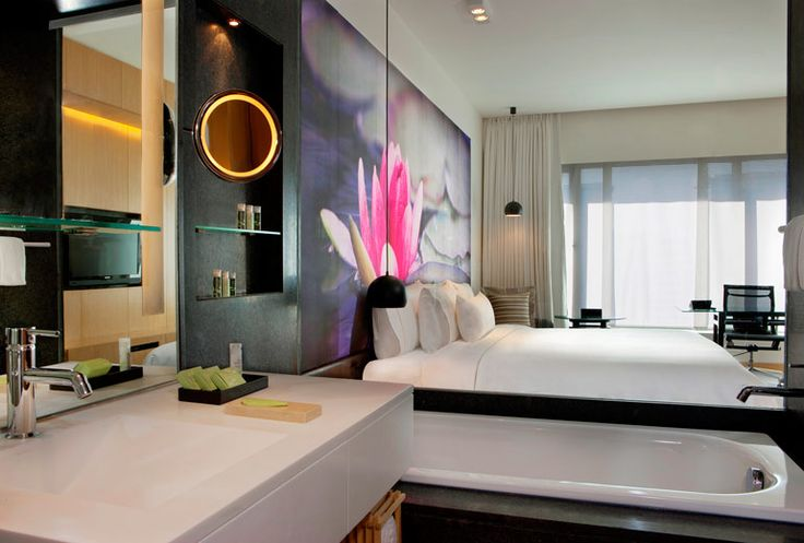 Contemporary Deluxe Room at the Westin Hyderabad featuring custom digitally printed bedheads and acoustic wall panels #materialisedfabrics #fabricsfortherealworld #performancefabrics #hoteldesign #acousticsolutions