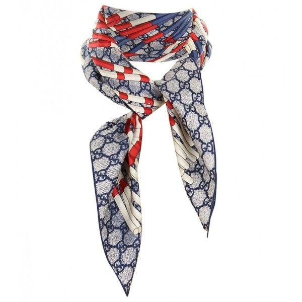 Gucci Red, Blue & White Silk Twill Rosette Print Scarf ($205) ❤ liked on Polyvore featuring accessories, scarves, gucci, print scarves, red shawl, gucci shawl and red scarves
