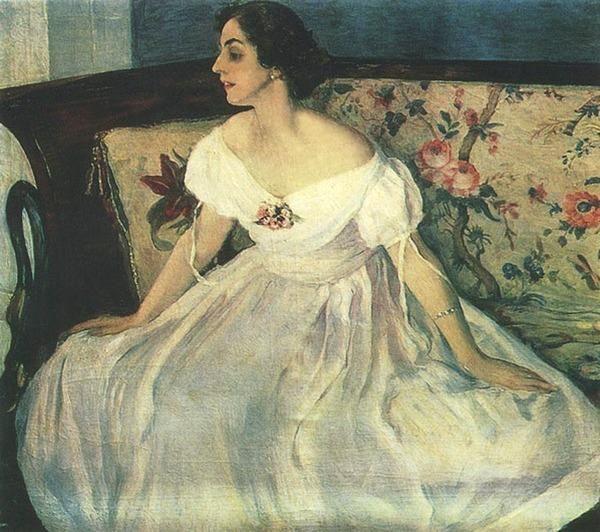 Старинный портрет женщины в платье