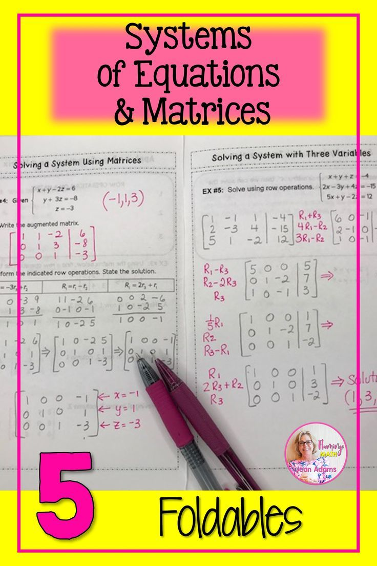 Systems Matrices Foldables In 2020 Precalculus Matrix Unit Matrix