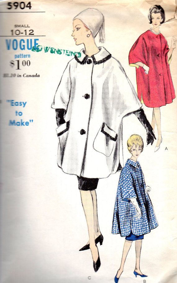Vogue 5904 1960s Misses Easy to Make Poncho Coat Vintage Sewing Pattern by mbchills