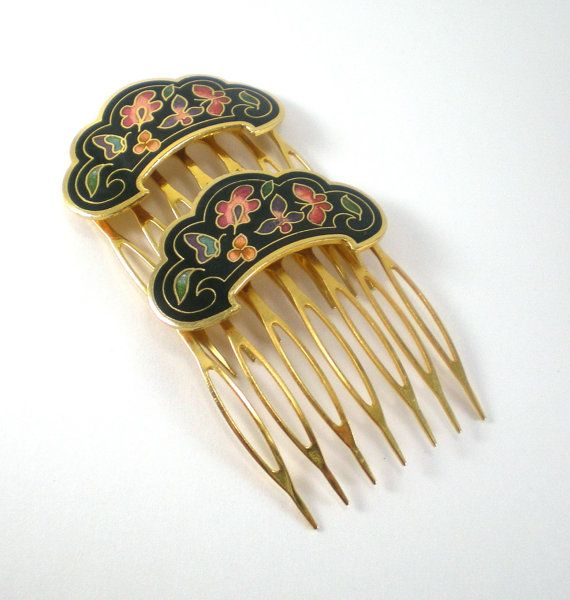 Hair Comb Asian Enamel Cloisonne Women Accessories By Paleorama