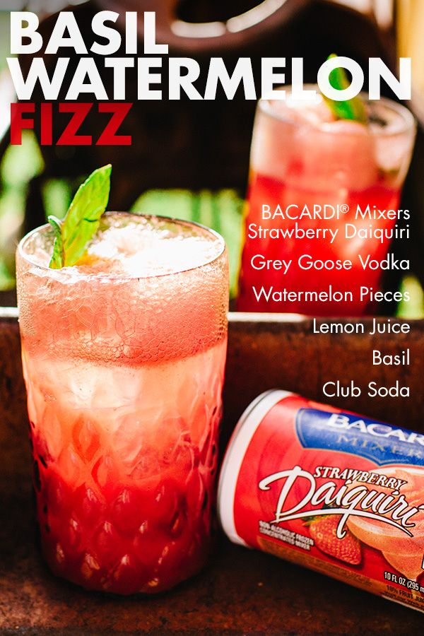 Enjoy the sweet taste of summer any time of year! The Basil Watermelon Fizz is a bright and delightful refreshment machine that's as tasty in the spring and fall as it is in the summer! Simply combine BACARDI® Mixers Strawberry Daiquiri, vodka, watermelon, club soda, lemon juice and basil leaves for some fizzy fun that's fantastic no matter the occasion.