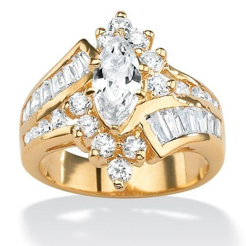 Palmbeach Jewelry 3 20 Tcw Marquise Cut Cubic Zirconia 14k Yellow Gold Plated Ring Palm