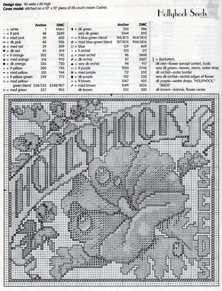 Hollyhock Seed Packet Cross Stitch Pattern & Floss Chart