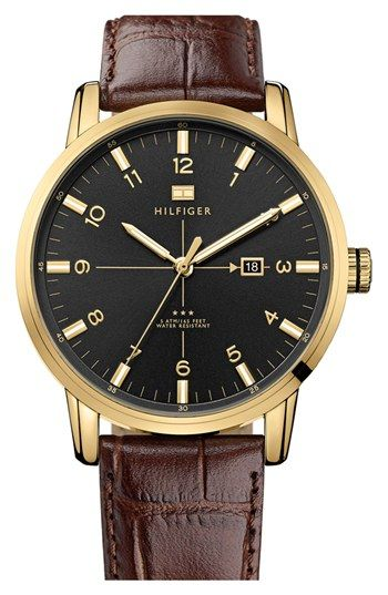 Tommy Hilfiger Round Embossed Leather Strap Watch, 44mm available at #Nordstrom