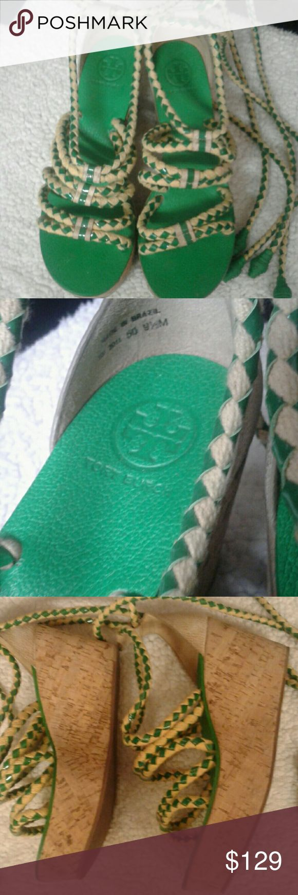 Tory Burch rope wedge shoes size 9 1/2 medium Stunning sexy Tory Burch shoes green wedge heels green and cream rope tie up the leg or where the bottom this is a rare color in very good shape shows very little wear Tory Burch Shoes