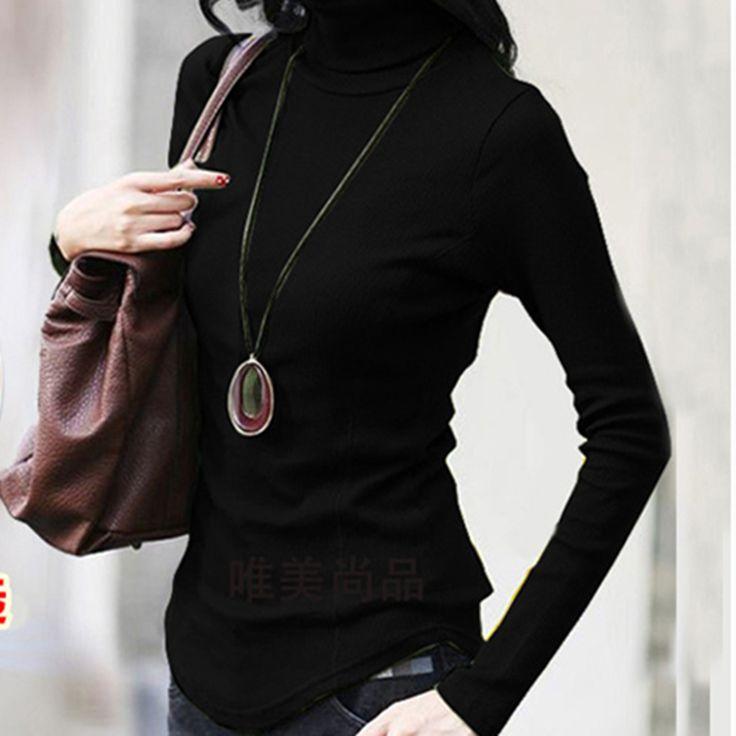 2017 Autumn Winter women's turtleneck long sleeve cottonT-shirt slim plus size under shirt tops Multi-color T-shirts for woman