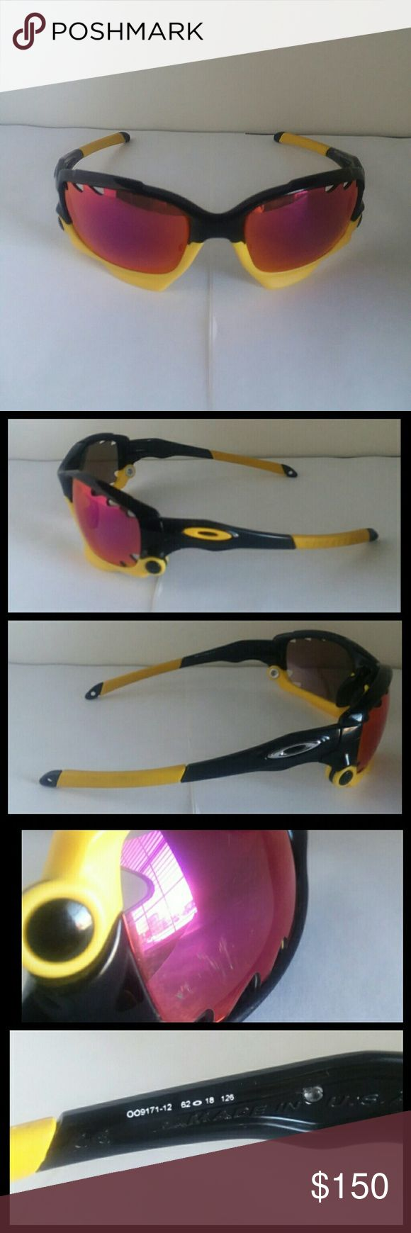 Good condition Oakley Racing Jacket sunglasses Oakley Racing Jacket sunglasses and frame Good worn condition, have them for over 5 years, authentic, worn many times, lens changing mechanisms work perfectly Oakley Racing Jacket Livestrong OO9171-12  Original lenses were yellow and black (only one of each left) No original case Color: Black / Yellow Size: 62-18-126 Oakley Racing Jacket OO9171-10  Red lenses. Left lens scratched. No original case  Color: Black / with red details  Size…