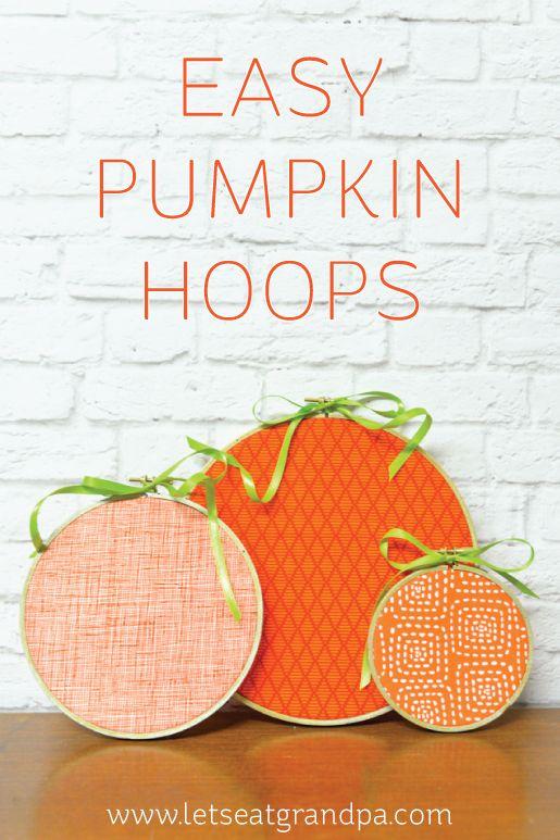 Pumpkin embroidery hoops.      Gloucestershire Resource Centre http://www.grcltd.org/scrapstore/