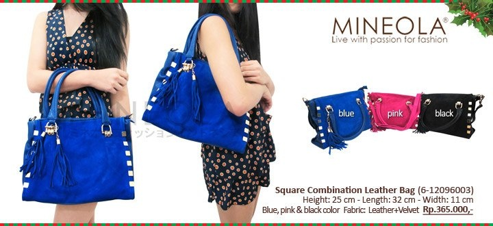 #myMINEOLA December New Arrival!  Square Combination Leather Bag (6-12096003)  Price: Rp.365.000,- Color: Blue, Pink, Black  Measurement: Height: 25cm - Length: 32cm - Width: 11cm   Material: Leather + Velvet